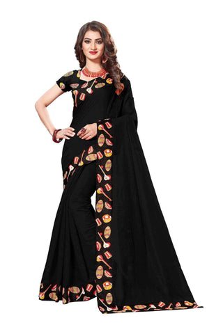 Black Color Lace Border  Chanderi Cotton Saree - bf5125black