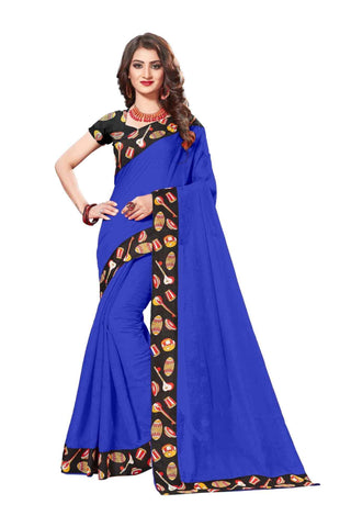 Blue Color Lace Border  Chanderi Cotton Saree - bf5125blue