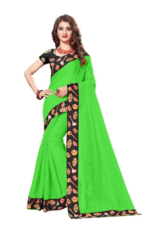 Green Color Lace Border  Chanderi Cotton Saree - bf5125green