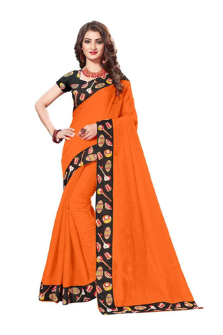 Orange Color Lace Border  Chanderi Cotton Saree - bf5125orange