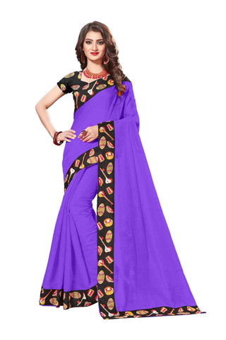Purple Color Lace Border  Chanderi Cotton Saree - bf5125purple