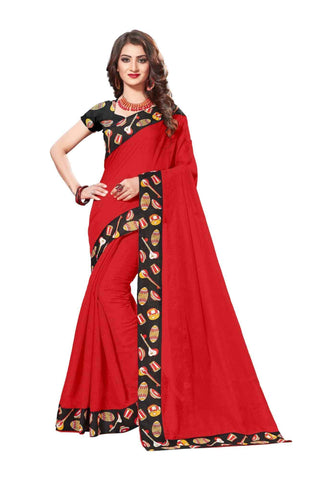 Red Color Lace Border  Chanderi Cotton Saree - bf5125red