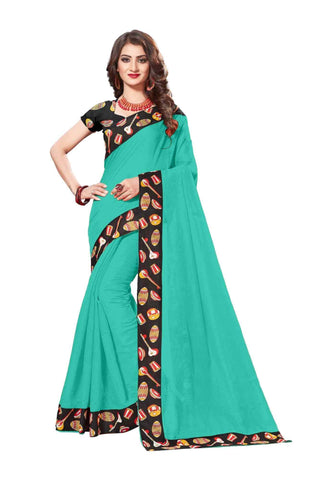 Sky Color Lace Border  Chanderi Cotton Saree - bf5125sky