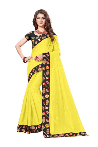 Yellow Color Lace Border  Chanderi Cotton Saree - bf5125yellow