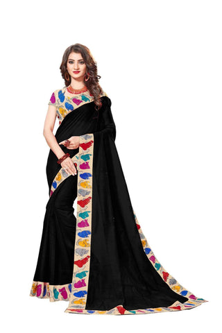 Black Color Lace Border  Chanderi Cotton Saree - bf5126blavk