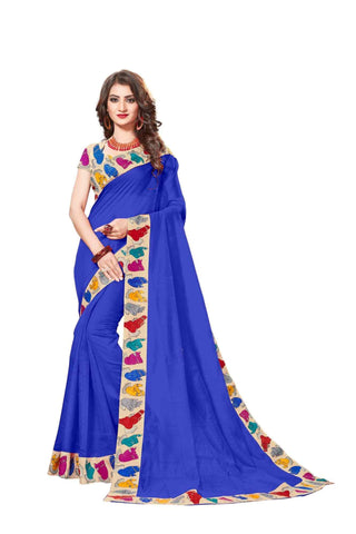 Blue Color Lace Border  Chanderi Cotton Saree - bf5126blue