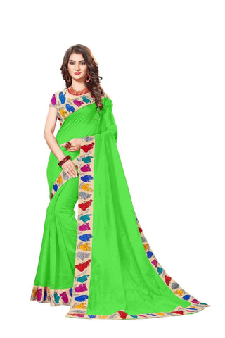Green Color Lace Border  Chanderi Cotton Saree - bf5126green