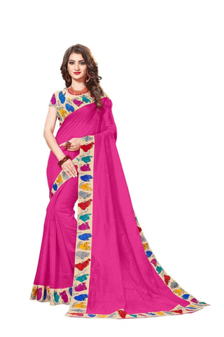 Pink Color Lace Border  Chanderi Cotton Saree - bf5126pink