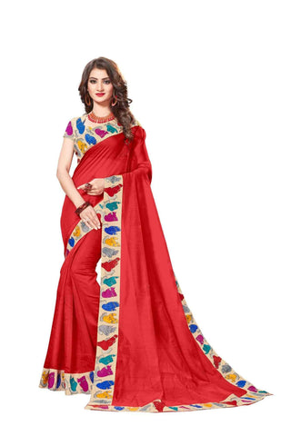 Red Color Lace Border  Chanderi Cotton Saree - bf5126red
