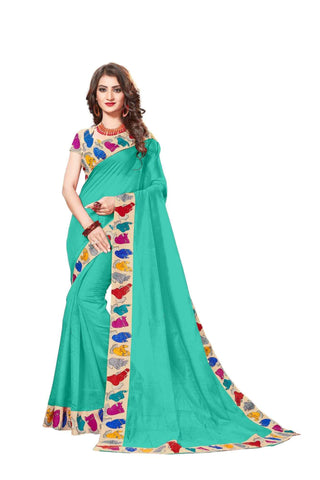 Sky Color Lace Border  Chanderi Cotton Saree - bf5126sky