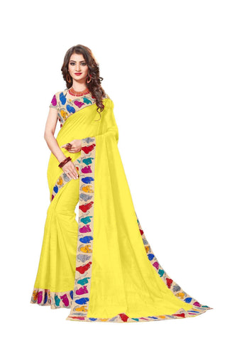 Yellow Color Lace Border  Chanderi Cotton Saree - bf5126yellow