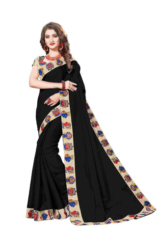 Black Color Lace Border  Chanderi Cotton Saree - bf5127black