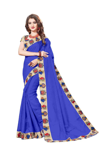 Blue Color Lace Border  Chanderi Cotton Saree - bf5127blue