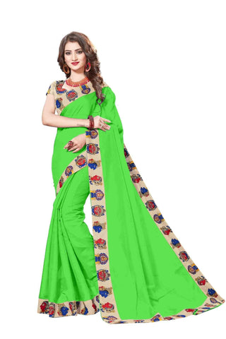 Green Color Lace Border  Chanderi Cotton Saree - bf5127green