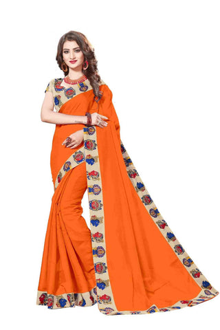 Orange Color Lace Border  Chanderi Cotton Saree - bf5127orange