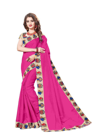 Pink Color Lace Border  Chanderi Cotton Saree - bf5127pink