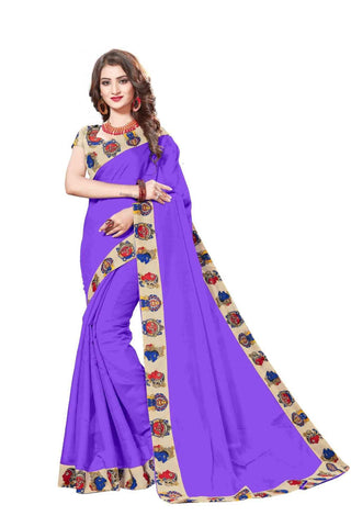 Red Color Lace Border  Chanderi Cotton Saree - bf5127purple