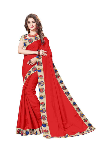 Sky Color Lace Border  Chanderi Cotton Saree - bf5127red