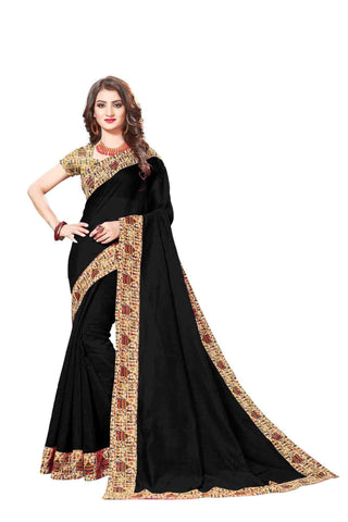 Black Color Lace Border  Chanderi Cotton Saree - bf5128black
