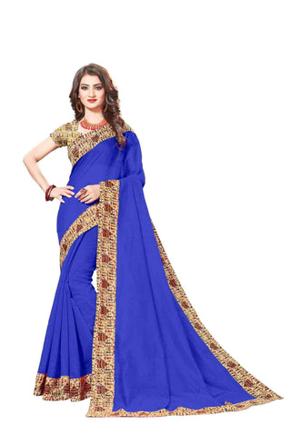 Blue Color Lace Border  Chanderi Cotton Saree - bf5128blue