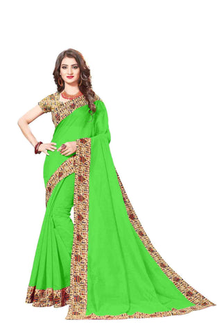 Green Color Lace Border  Chanderi Cotton Saree - bf5128green