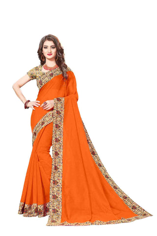 Orange Color Lace Border  Chanderi Cotton Saree - bf5128orange