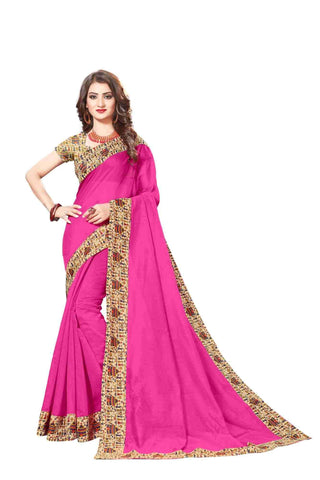 Pink Color Lace Border  Chanderi Cotton Saree - bf5128pink