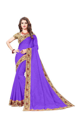 Purple Color Lace Border  Chanderi Cotton Saree - bf5128purple