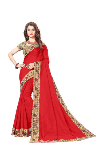 Red Color Lace Border  Chanderi Cotton Saree - bf5128red