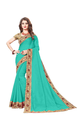 Sky Color Lace Border  Chanderi Cotton Saree - bf5128sky