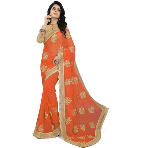 Orange Color Embroidered Faux georgette Saree - bf5150-ORANGE