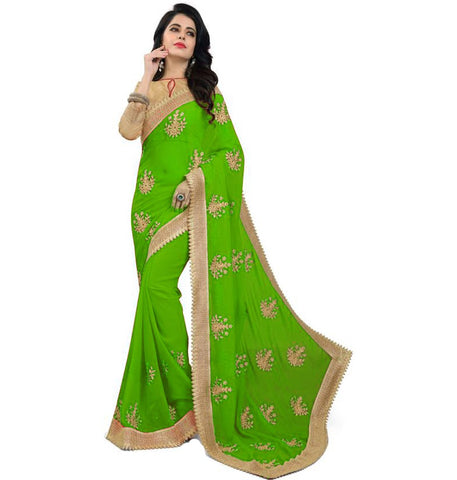 Green Color Embroidered Faux georgette Saree - bf5150green