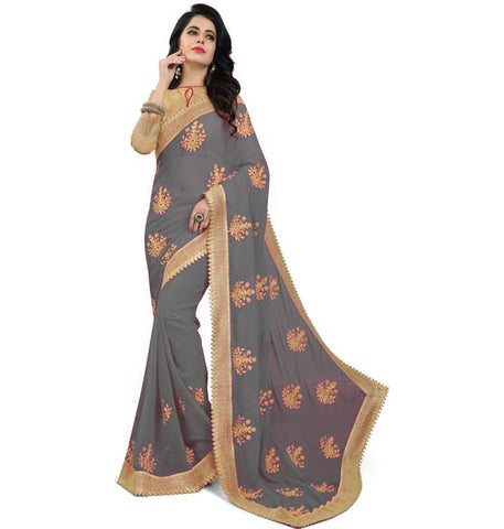 Grey Color Embroidered Faux georgette Saree - bf5150grey
