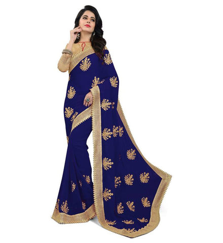 Navy Blue Color Embroidered Faux georgette Saree - bf5150navy_blue