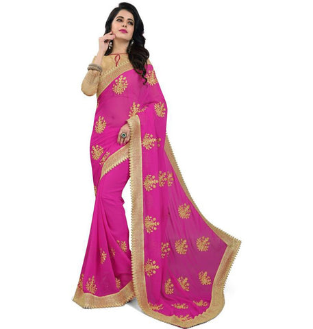 Pink Color Embroidered Faux georgette Saree - bf5150pink