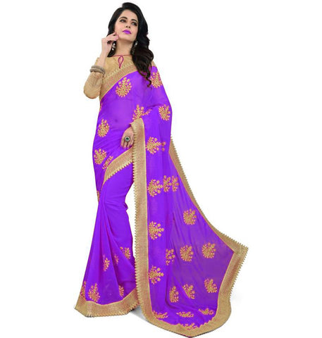 Purple Color Embroidered Faux georgette Saree - bf5150purple