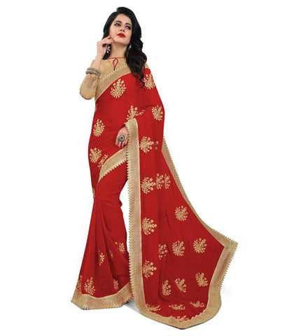 Red Color Embroidered Faux georgette Saree - bf5150red