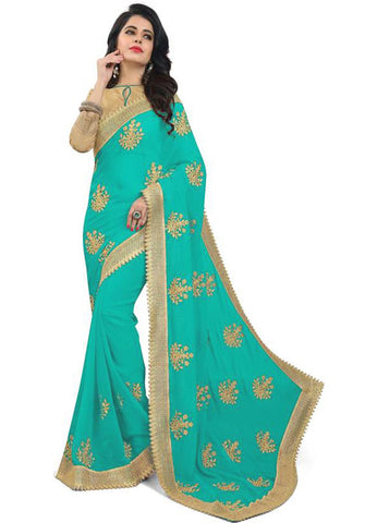 Sky Color Embroidered Faux georgette Saree - bf5150sky