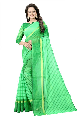 Green Color Printed Chanderi Cotton Saree - bf5174green