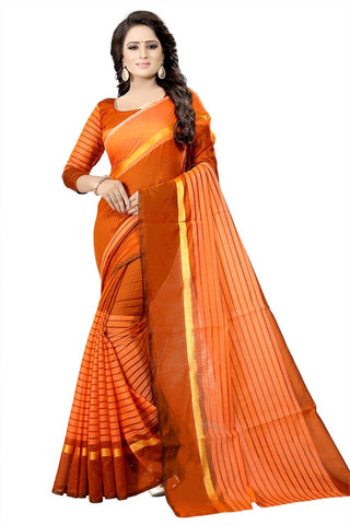 Orange Color Printed Chanderi Cotton Saree - bf5174orange