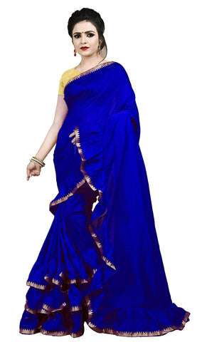 Navy Blue Color Ruffle Vichitra Silk Saree - bf5238navy