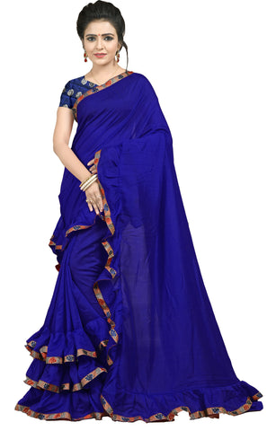 Navy Blue Color Ruffle Vichitra Silk Saree - bf5239navybluewhit
