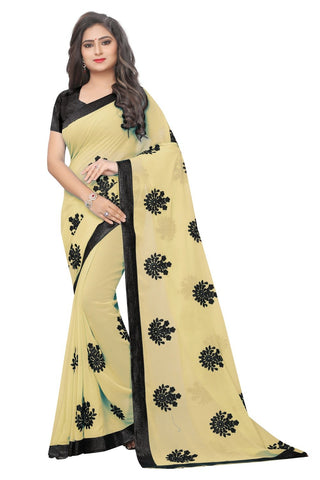 Beige Color Embroidered Faux georgette Saree - bf5241CHIKU