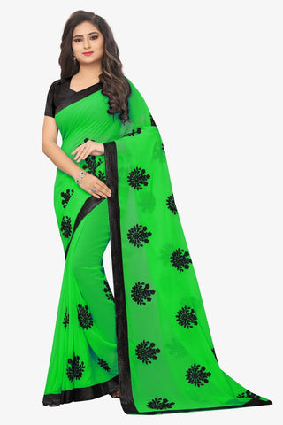 Green Color Embroidered Faux georgette Saree - bf5241green