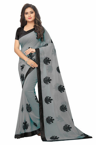 Grey Color Embroidered Faux georgette Saree - bf5241grey
