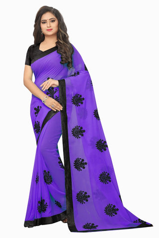 Purple Color Embroidered Faux georgette Saree - bf5241purple
