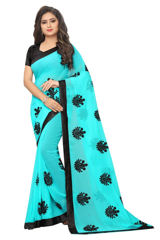 Sky Color Embroidered Faux georgette Saree - bf5241sky