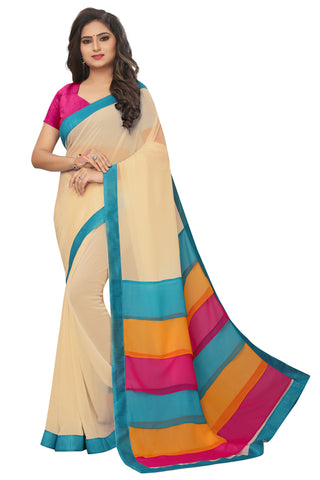 Chiku Color Lace Border  Faux georgette Saree - bf5242chiku