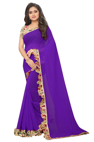 Purple Color Ruffle Faux georgette Saree - bf5245purple