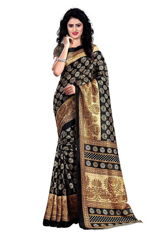 Black Color Bhagalpuri Saree - bg-black-1